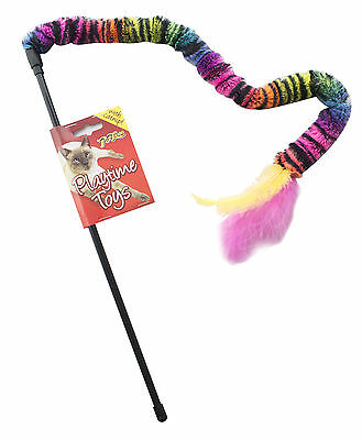 Cat Kitten Variety Colour Teaser Wand Toy With Catnip & Feather