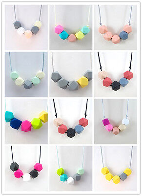 Teething Nursing Breastfeeding Necklace beads baby chew jewelry Silicone