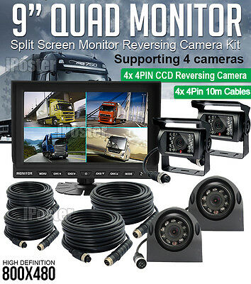 "9"" Quad Monitor Rear View Security SYSTEM 4x 4Pin Metal CCD Camera For Truck Bus"
