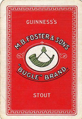 "WIDE RARE VINTAGE ""Guinness (Foster Bugle) British Brewery"" SINGLE Playing Card"