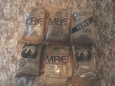 """Lot of 6  """"Meal Ready To Eat"""" (MRE) Military Issue Field Ration"""