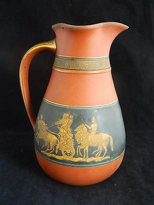 Antique English 19th c Booths pottery terracotta jug / pitcher classical