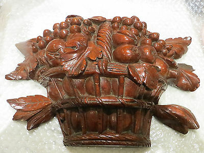 Early 19th century -ornate carved wood - relief panel- bowl of fruit wall plaque