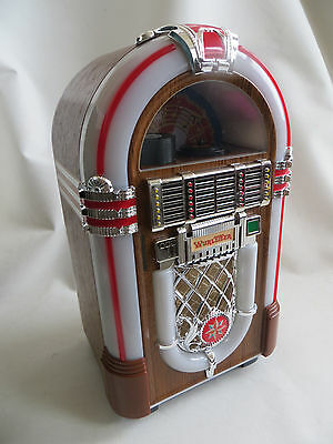 "RARE-Vintage-Genuine Wurlitzer micro cassette Jukebox-NEW 11""/28cm tall 80s-90's"
