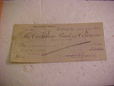 1922 Canadian Bank Of Commerce Cheque Wellington St Branch Sherbrooke Quebec