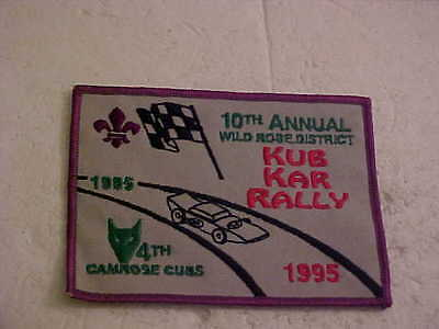 4Th Camrose Cubs 10Th Anual Wild Rose District 1995 Kub Kar Rally Patch