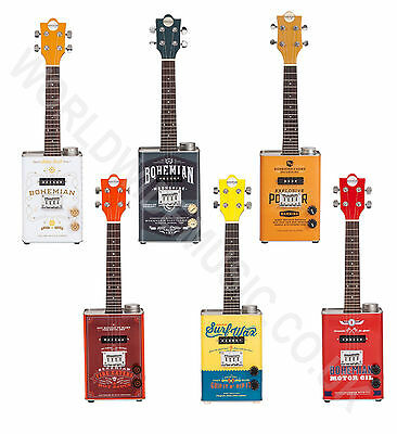 Bohemian Oil Can Electric Soprano Ukulele with a choice of 6 great designs.