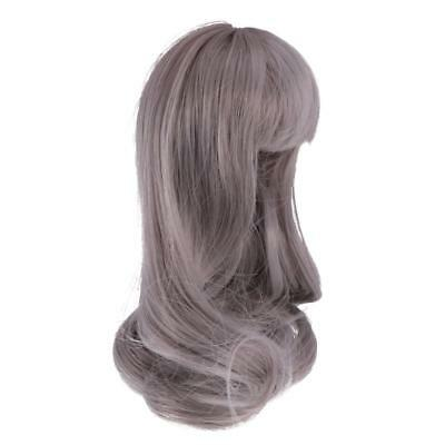Long Wave Curly Hair Wig Hairpiece for 1/6 BJD SD Dolls Accessories - Gray