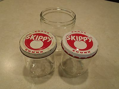 Skippy Glass Jar Lot Ball Metal Lid Chunk Vintage 1 Cup 1/2 Cup