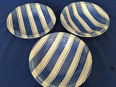 (3) Vintage GRINDLEY Pinstripe BLUE & WHITE Bowls made in Staffordshire England