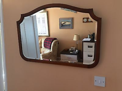 Antique Mahogany Bevelled Edge Over Mantle Wall Mirror