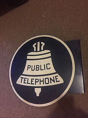 Old Original 1950's Metal Telephone  Flange Sign