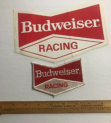 Vintage Budweiser Racing Patch And Sticker