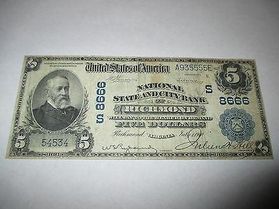 $5 1902 Richmond Virginia VA National Currency Bank Note Bill! #8666 Fine RARE