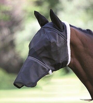Shires Field Durable Fly Mask With Ears And Nose  - Black - 6658E - Cob