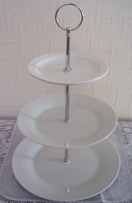 Two (2) brand new classic white three tier cake stands for afternoon tea/wedding