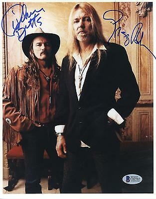 Gregg Allman & Dickey Betts Signed 8x10 The Allman Brothers Band Posing Photo