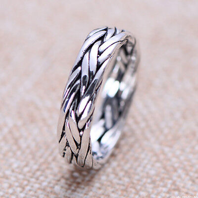 Solid 925 Sterling Thai Silver Ring Braided Men Women Size 9 10 11 12 13