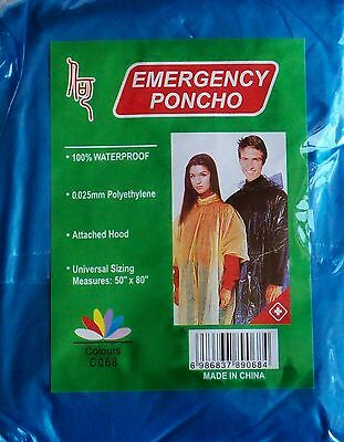 4 x Adult Waterproof Ponchos Festival Walking Camping 4 Different Colours