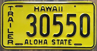 1969 Yellow Hawaii Aloha State Authentic New Trailer License Plate Mint #30550