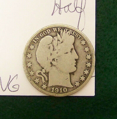1910 S Barber Half Dollar-GOOD - VG