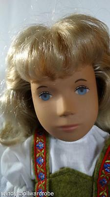 "Vintage Sasha Blond Blue Eye Doll 16"" In Heidi Outfit With Hat"