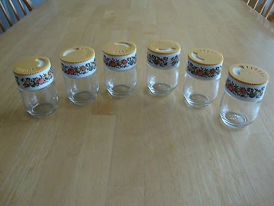 Gemco USA 6 glass spice of life jars shakers set Pyrex  vintage set