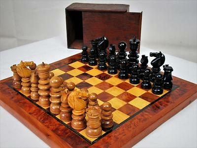 "Antique English Chess Set K 2.75"" + Vintage Thuya Wood Chess  Board"