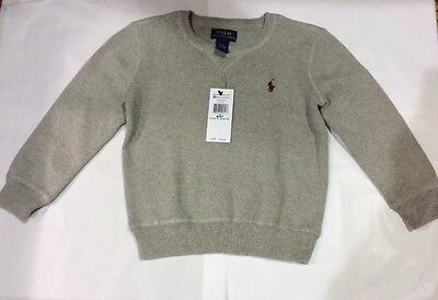NWT Polo Ralph Lauren Baby Toddler Boys Gray Soft Cotton Crew Sweater $55 4/4T
