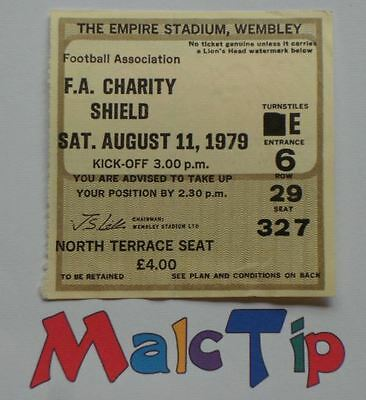 FA CHARITY SHIELD 1979 – Liverpool v Arsenal Ticket Stub – August 11th