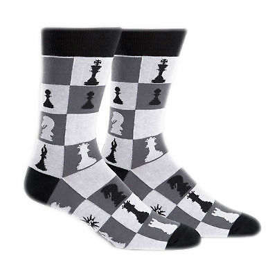 Sock It To Me Men's Checkmate Crew Socks Chess Board Game Adult Shoe Size 7-13