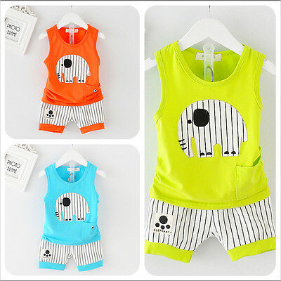 Baby Boys Clothes Cotton Summer Top Tee +Short Pants Kids Boys Elephant Outfits