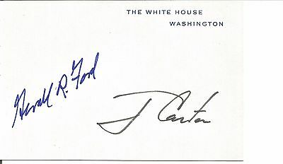 White House Card Signed by 2 Presidents Jimmy Carter Gerald Ford Autographed 1/1