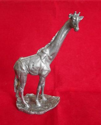 "Unusual Metal REALISTIC Giraffe Figurine 5.25"" H Hudson Pewter Signed"