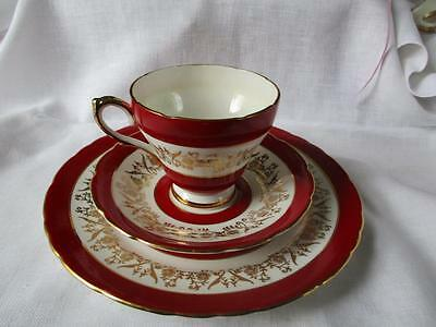 Vintage SUTHERLAND TRIO cup saucer tea plate RED BAND GOLD Staffordshire England