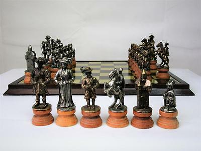 "VINTAGE LARGE CHESS SET  THE ""LANDSKNECHT"" WOOD & METAL  K 109 mm  + BOARD"