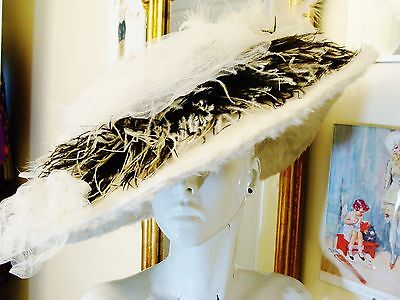 Antique Victorian/Edwardian Wide Brim White Beaver Hat
