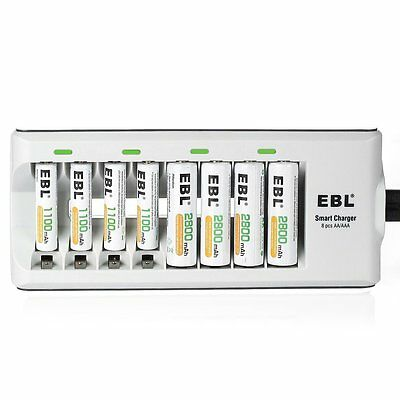 EBL 8 Bay AA/AAA Battery Charger with Rechargeable Batteries
