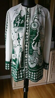 Vintage 70s TRISSI  Blouse Top Polyester Green White Novelty 1800s Theme Large