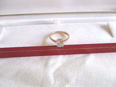 New 18Kt Rose  Gold  Plated  Solitaire Cz Ring Size P