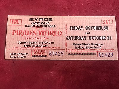The Byrds & James Gang @ Pirates World Unused Concert Ticket