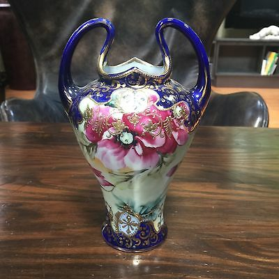 Cobalt blue Nippon vase with Gold moriage