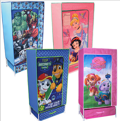 Kids Canvas Fabric Wardrobe Storage Solution Disney Princess Marvel Paw Patrol