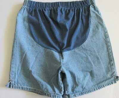 In due Time Womens Maternity Denim Jean Shorts Pockets Blue Full Tummy Panel 6