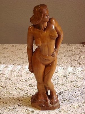 Vintage Hand Carved Wood Nude Female Native 12 1/2""