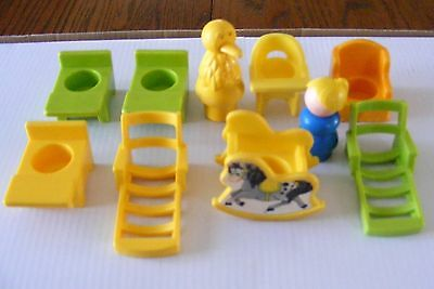 10 Vintage Accessories  Chairs - Little People - Desks  Fisher Price   Lot- 10
