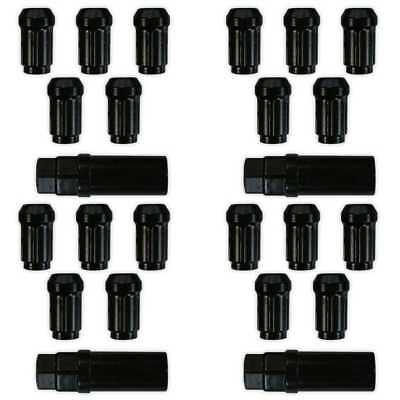 Set of 20 Black Spline Wheel Lug Nuts 12x1.25 Thread Acorn Conical Seat Style