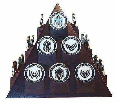 DECOMIL Pyramid Shaped Military Challenge Coin & Poker/Casino Chip Display Solid