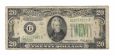 USA $20 Twenty Dollar Note 1934b Series from Chicago, Circulated.