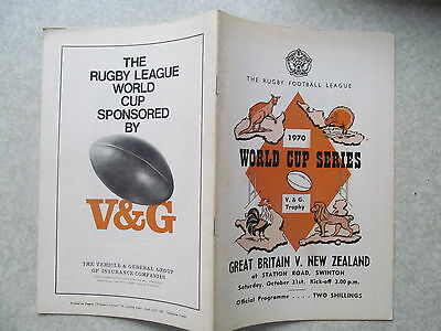 Great Britain v New Zealand,31 October 1970 R.L. programme World Cup Series